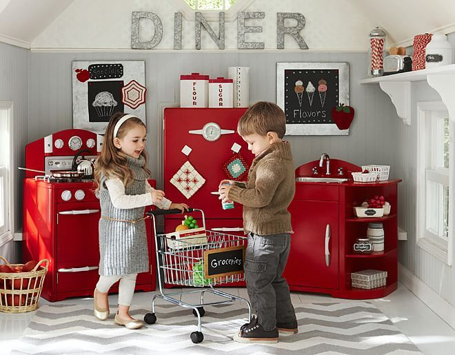 Inspiration for classroom house center Pottery Barn Kids Red