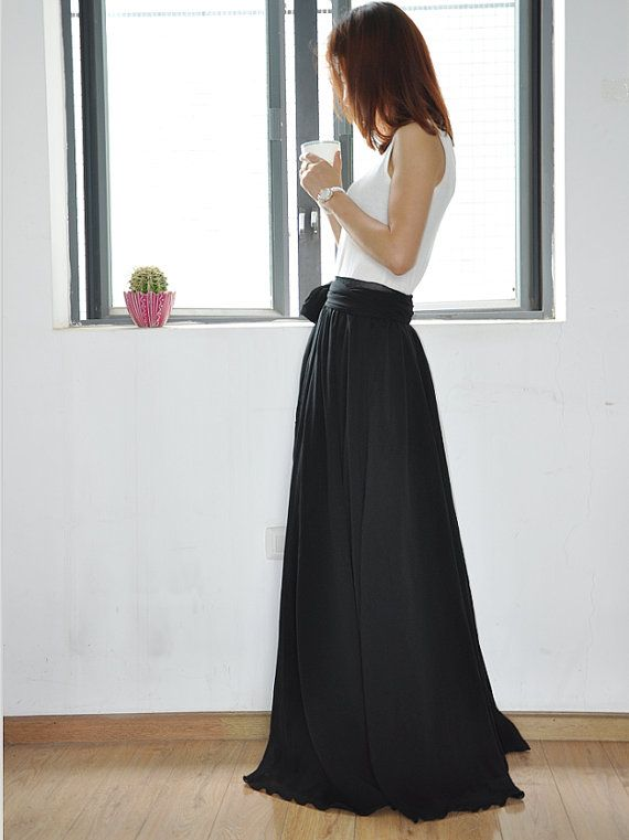 Black Maxi Skirt Chiffon Silk Skirts Beautiful Bow Tie High Waist ...