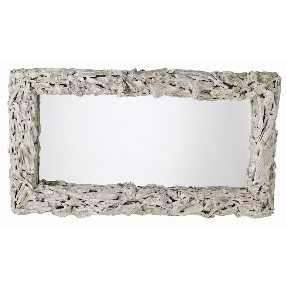 Driftwood Large White Distressed Mirror Driftwood Mirror Wood Framed Mirror Eclectic Mirrors