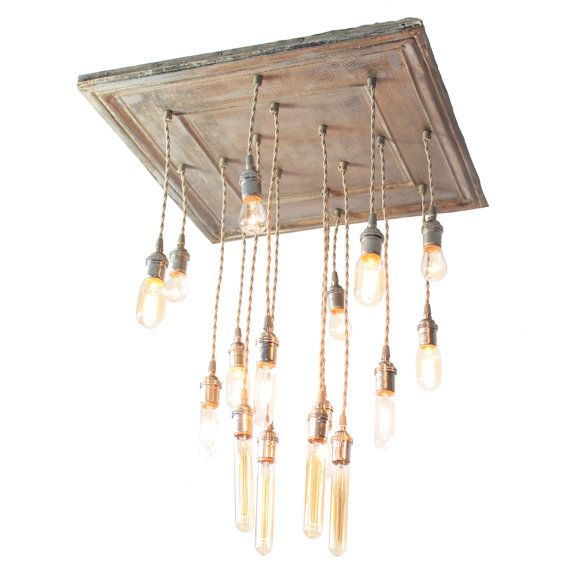 Rustic Reclaimed Wood Edison Bulb Industrial Chandelier Lights: Salvaged Barn Tin Repurposed Into Chandelier With Various