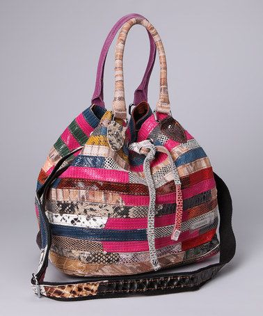Pink & Navy Snakeskin Stripe Bucket Bag by Adhesion, LLC on zulily