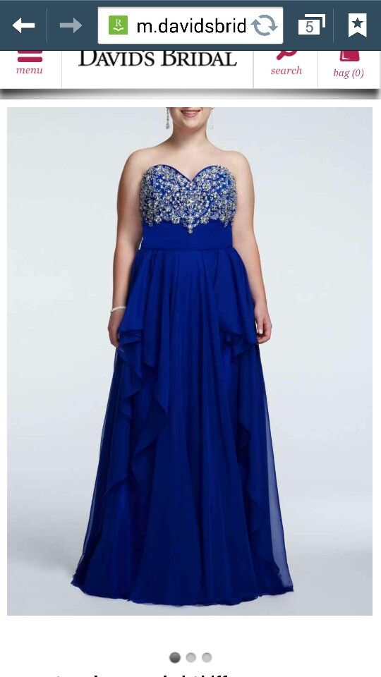 Davids Bridal Prom Dress Long Dress Plus Size Royal Blue 2014