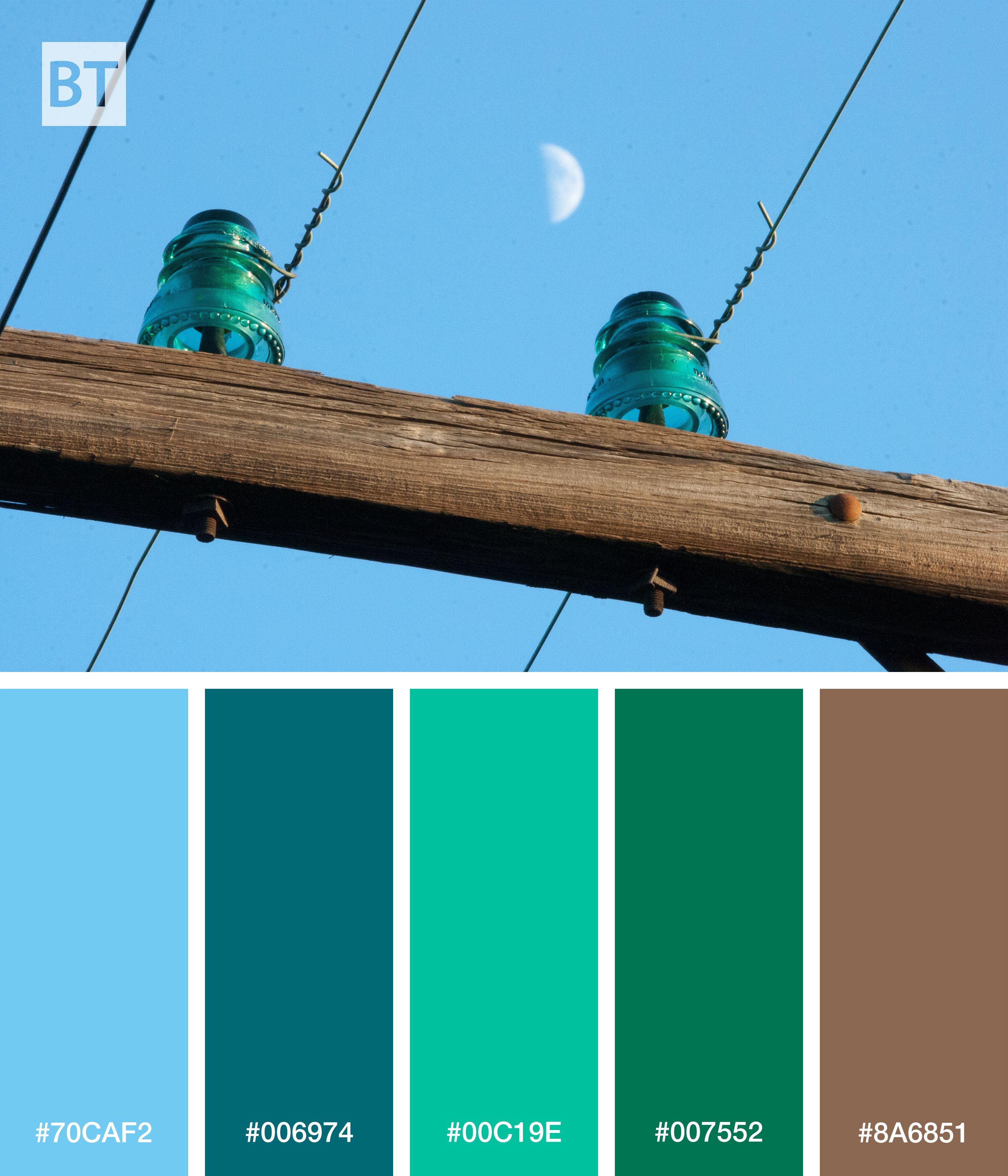 Color palette of old power line glass insulators alongside for Glass power line insulators