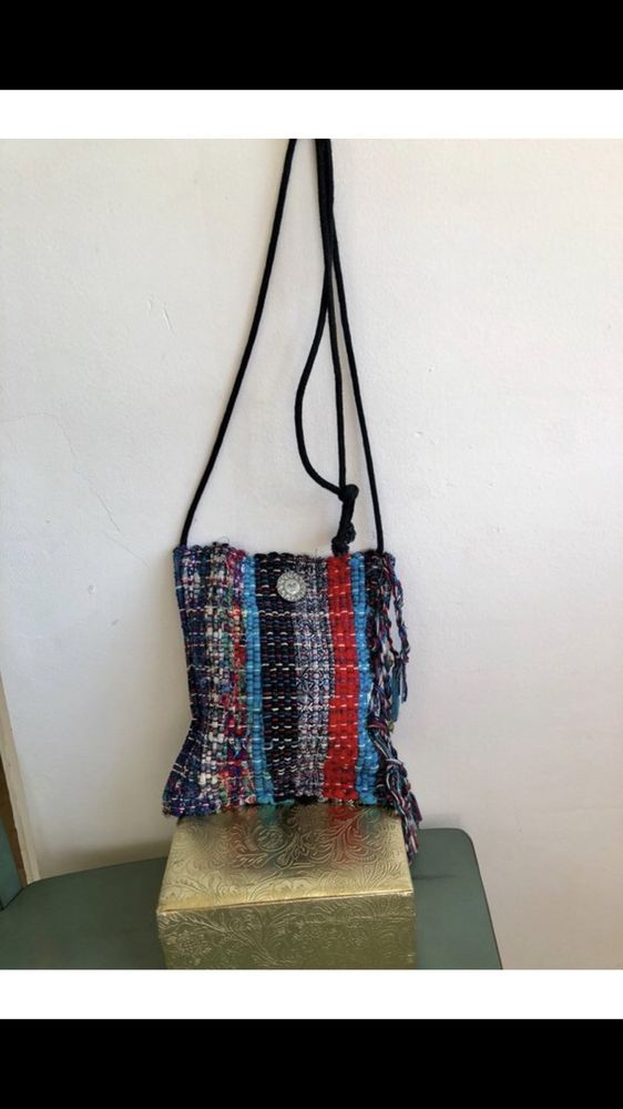 804946f9c4 Colorful Knit Woven Rainbow Black Long Crossbody Boho Bag Hippie Rasta Funky