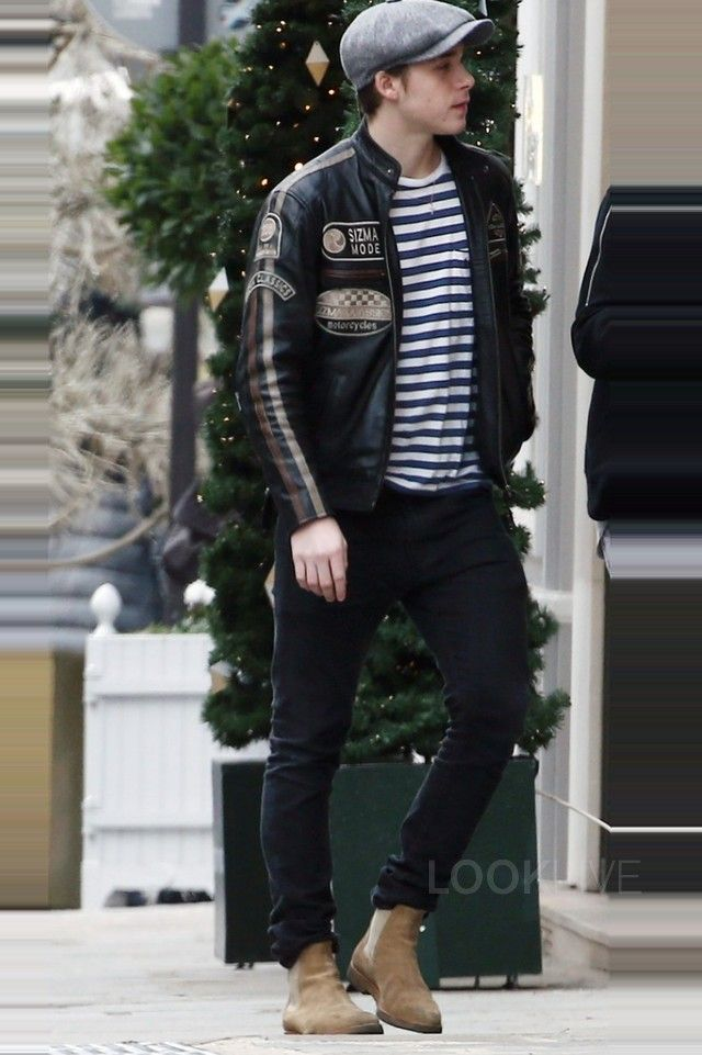 Brooklyn Beckham wearing Common Projects Suede Chelsea Boots