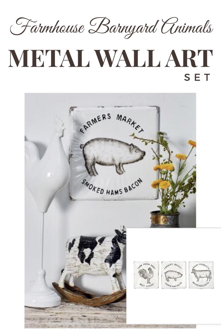 piece farmhouse barnyard animals metal wall décor set canut wait