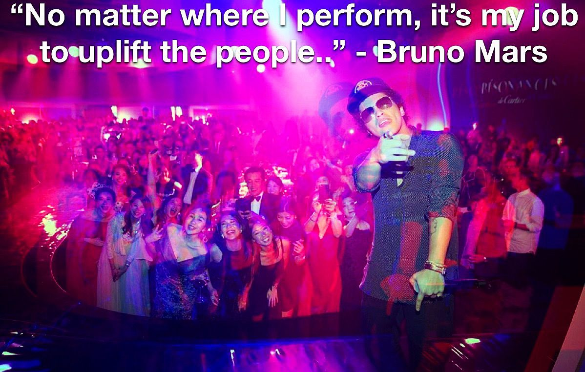 """""""No matter where I perform, it's my job to uplift the people, so whether I'm performing at a graduation party, a wedding, a bar mitzvah, the Grammys, the Super Bowl, I'm going to give it all I got. Whatever happens, happens. I ain't scared, if that's what you think."""" - Bruno Mars ( Shown Performing For The Résonances de @cartier Collection In Hong Kong)  #brunomars #corporateevents #cartier #highendjewelry #jewelryaddict #entertainer #brunomarsquotes #quotes #brandambassadorlife"""