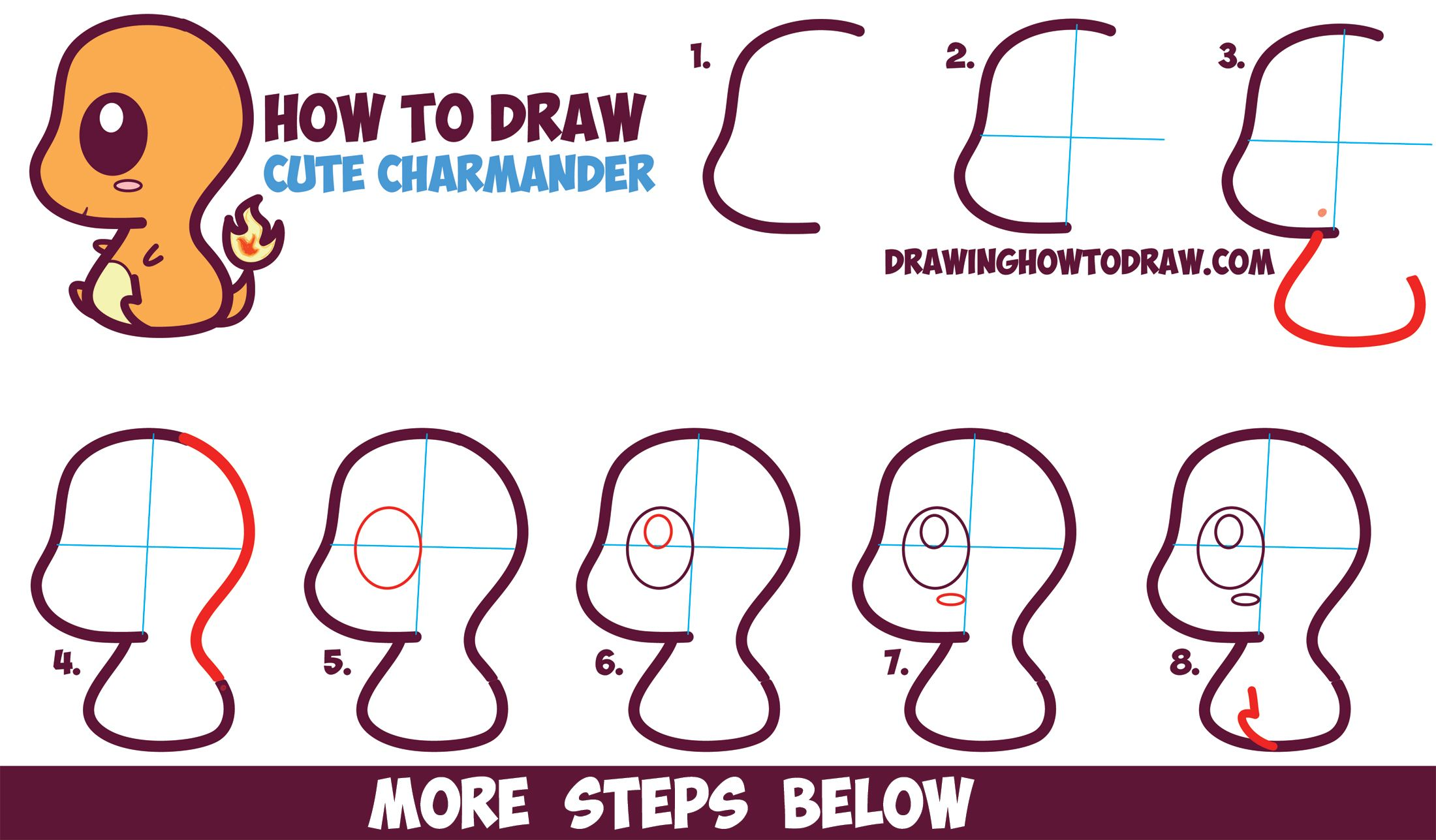 How to draw cute kawaii chibi charmander from pokemon for How to draw things step by step for kids