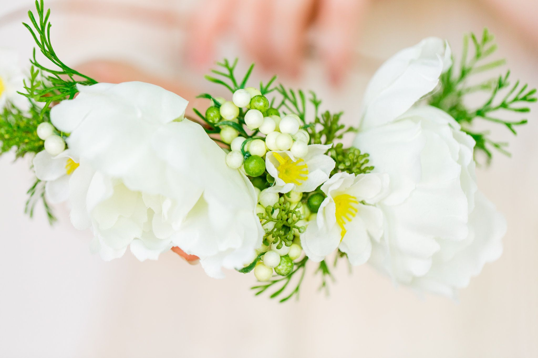 Two Large White Flower With Yellow And White Berries Bridal Flower