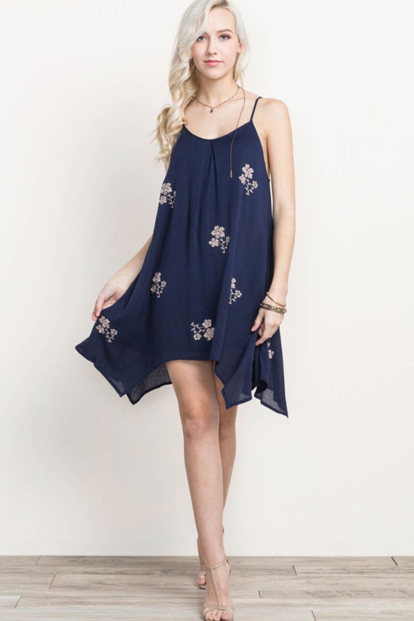 c7d14bacd34 Solid Embroidered Flower Sun Dress
