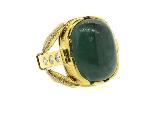 Massive 30ct Emerald Diamond 18k Gold Ring Featured in our upcoming auction on December 14, 2015 11:00AM EST!