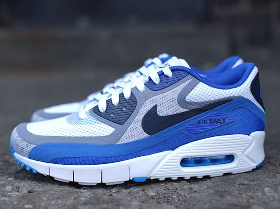 sneakers for cheap f6e9f e7261 ... Blue Gold Nike Air Max 90 Breathe – White – Dark Obsidian – Cool Grey –  Varsity Royal ...