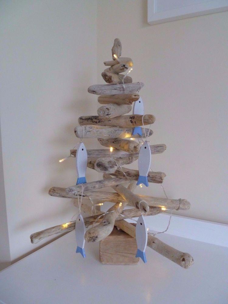 Handmade Cornish Driftwood Tree with Fish Decorations - Christmas