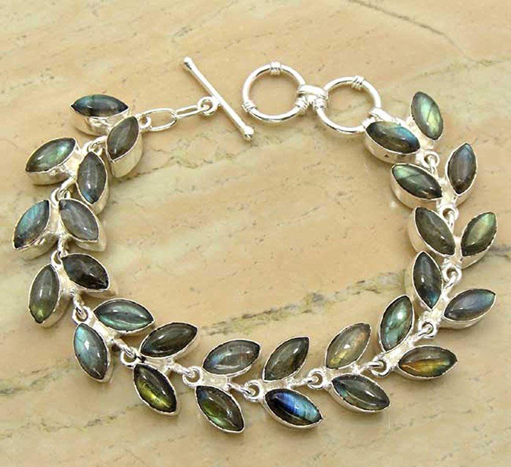 Natural Gemstone Oval Shape 925 Silver Overlay Handmade Link Bracelet Jewelry