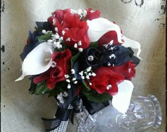 Bridal Bouquet Silk Wedding Flowers BLACK Red White Silver CALLA Roses 46pc Set For JASEY