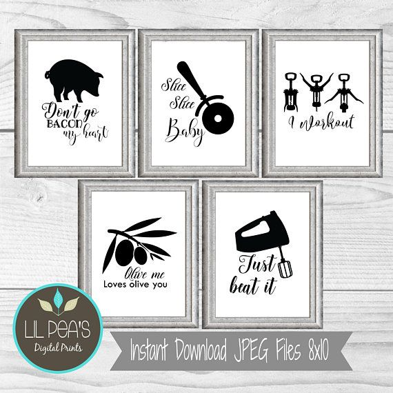 Kitchen Wall Art Frameless Picture Prints Funny Food Drink Quotes Home Gift Idea