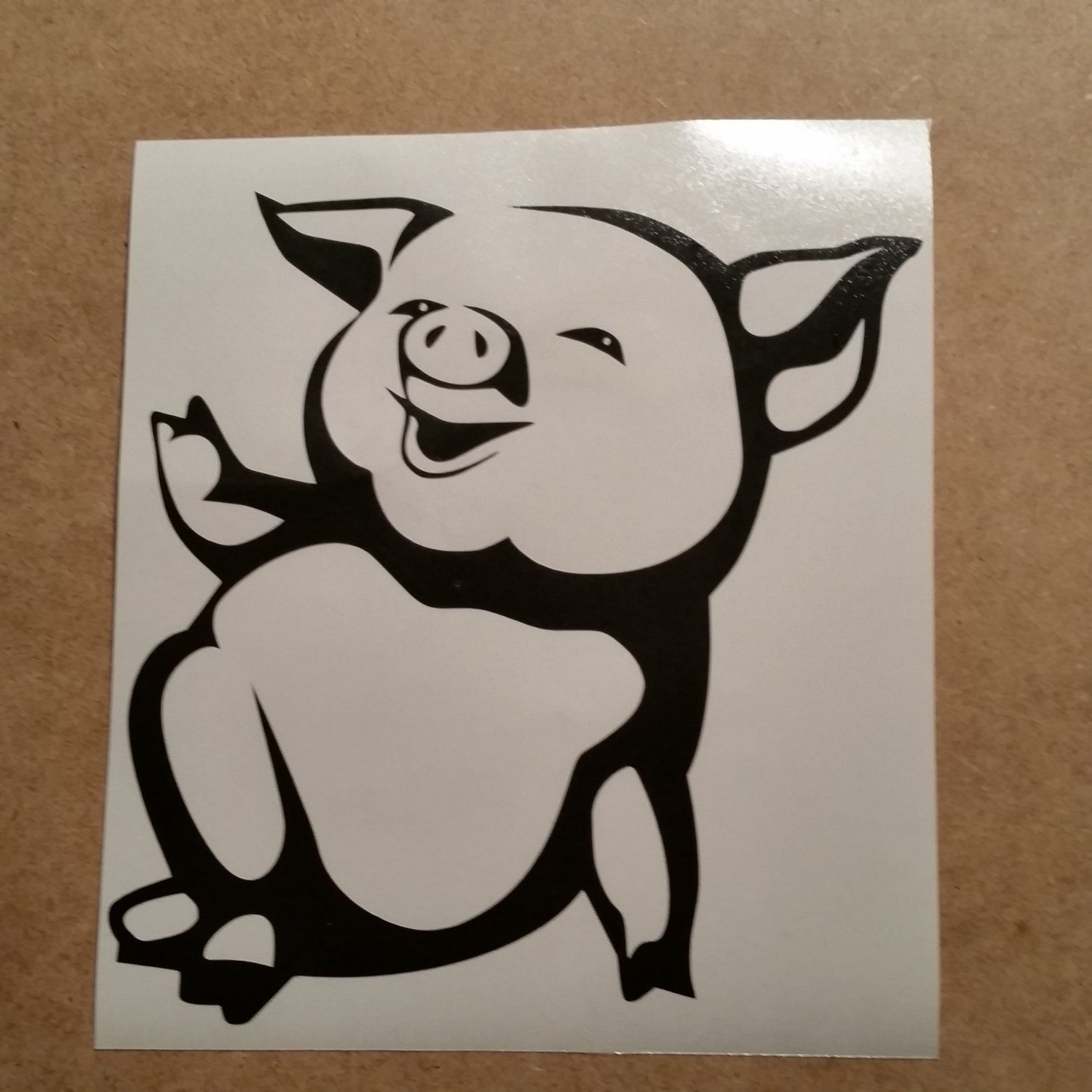 Cute Pig Vinyl Decal Pig Wall Art Pig Car Decal Pig Wall Vinyl Piglet Decal Pig Decal Pig Wall Sticker Piglet Cute Art Black White Cartoon Cute Pigs Cartoon Body