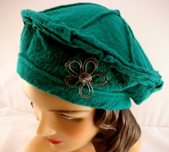 cd8cf17613af5 Emerald Green Beret 100 Wool Jersey by ImpromptuMillinery on Etsy ...