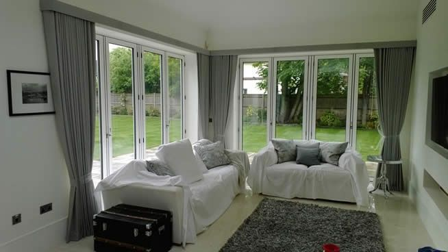 Curtains For Bi Fold Doors Curtains: Consider Heading Styles With Tight  Efficient Stacking As Large Windows Mean Large Stacks
