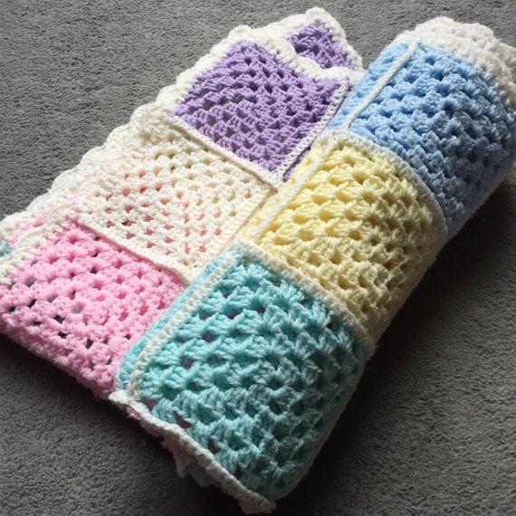 Granny Square blanket; Baby Crochet Blanket; Unisex, stylish blanket ...