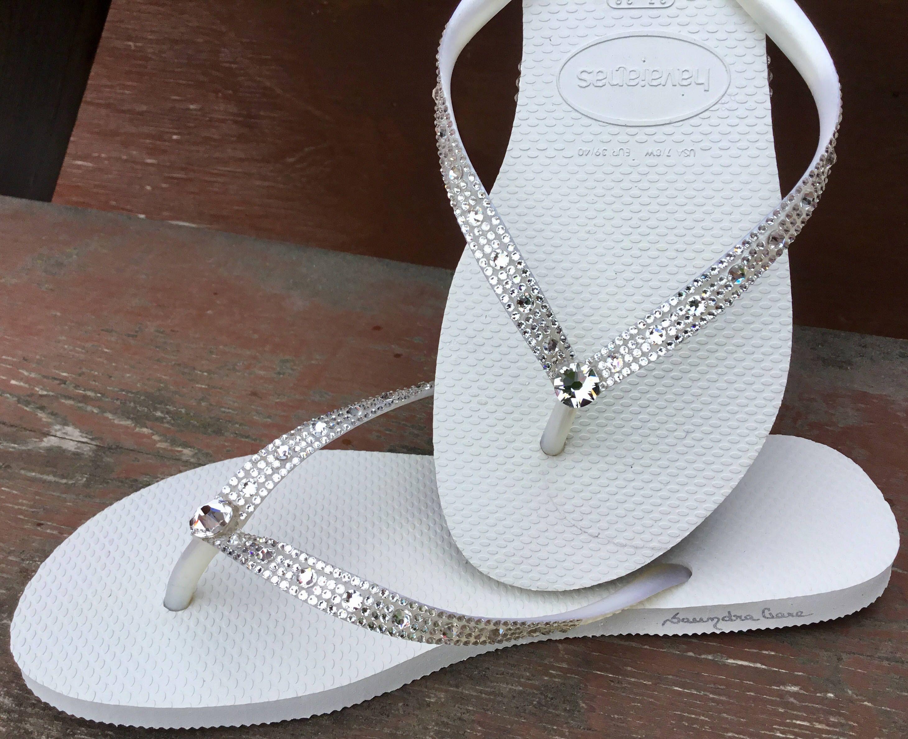 d3fb38c00514 White Wedding flip flops flat Slip on Havaianas Slim Full Moon w ...