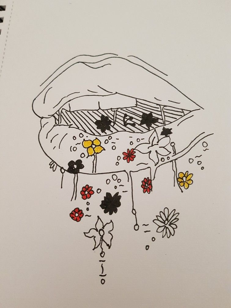 lips art mouth drawing flowers sweet kiss kisses | Artworks
