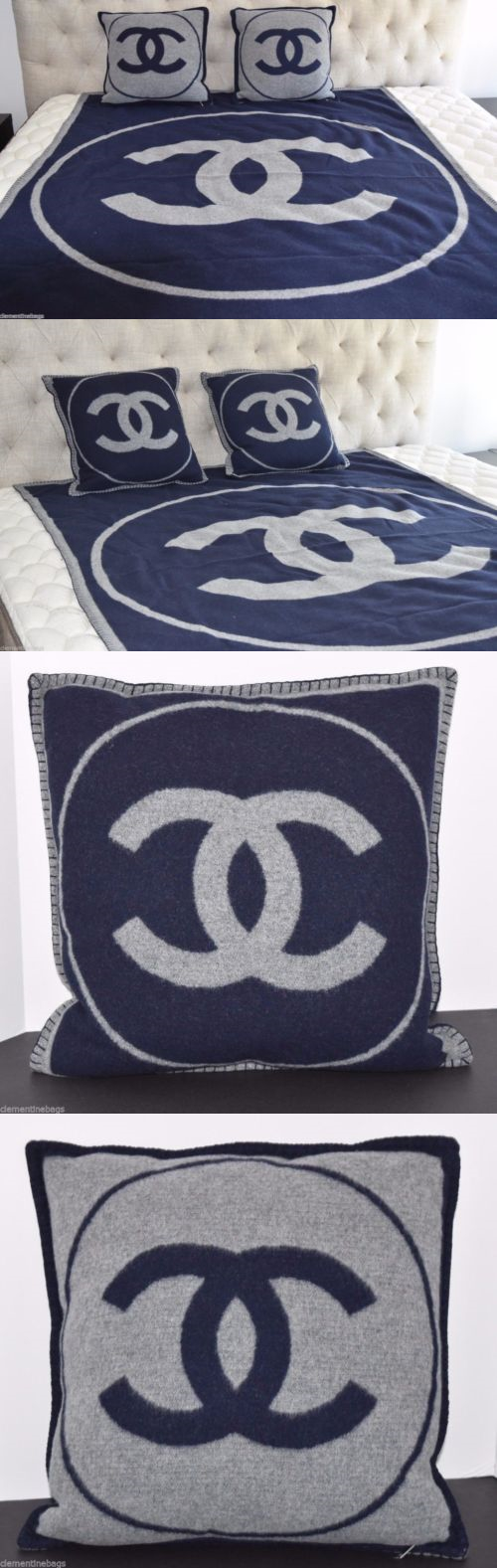 Blue decorative bed pillows - Decorative Bed Pillows 115630 Chanel Blue And Gray Blanket And Pillow Set Logo Wool Cashmere