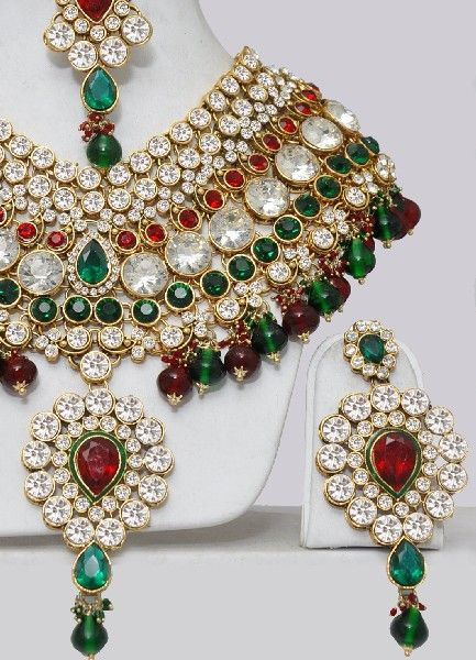 Traditional Red Gold And Green Necklace And Earrings Bridal