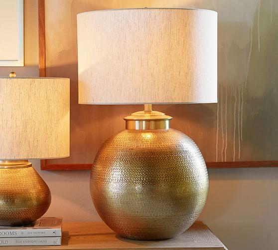 Buffet: Nori Hammered Table Lamp Base - Brass   Pottery Barn ...