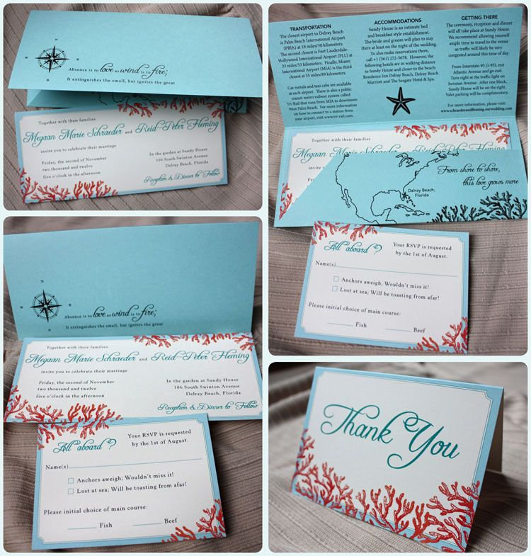 Beach wedding invitations Tiffany Blue Teal u0026