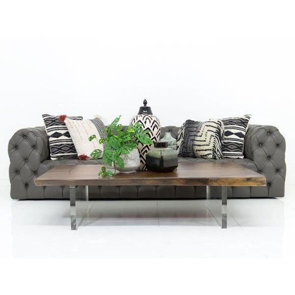 Palm Beach Sofa In Charcoal Grey Faux Leather (13,940 SAR) ❤ Liked On  Polyvore