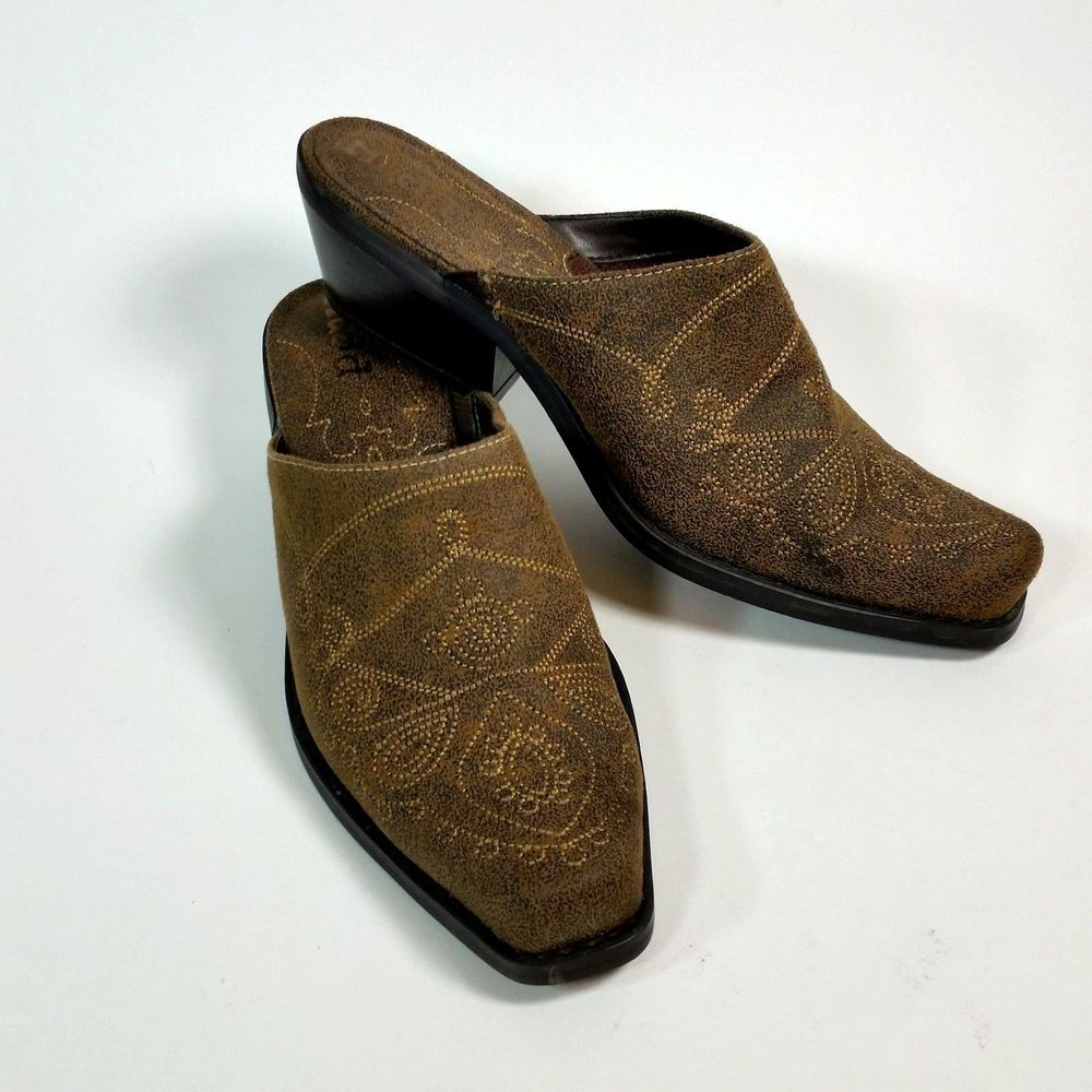 3e4ba53535c Mudd Clogs Womens 7.5 M Brown Western Cowboy Style. Slip On Shoes Mules  Booties. Fancy Western Style Stitching. Fabric Upper - Man Made Material.