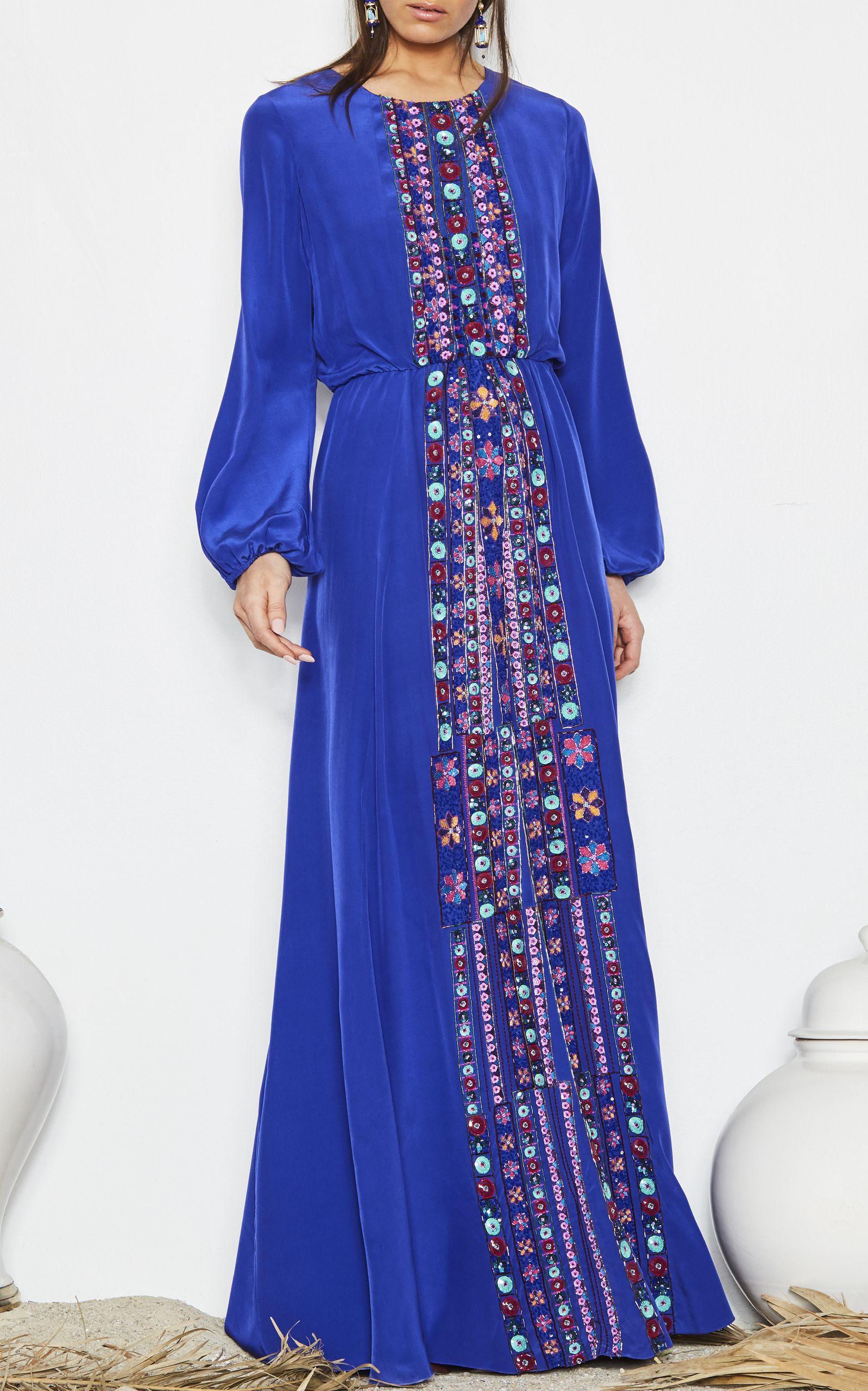 5d55f66853 Majorelle Blue embroidered rebecca dress