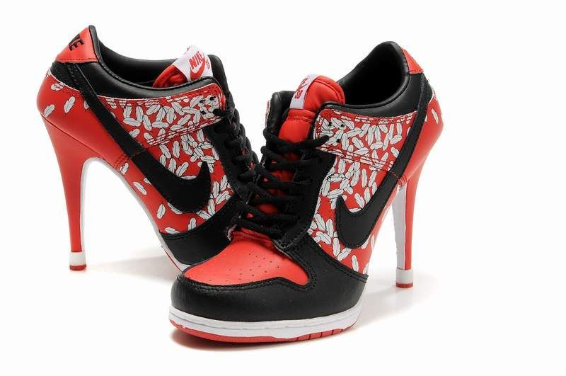 hot sales 91bc4 68817 Nike Dunk Sb High Heel Boots Red Black