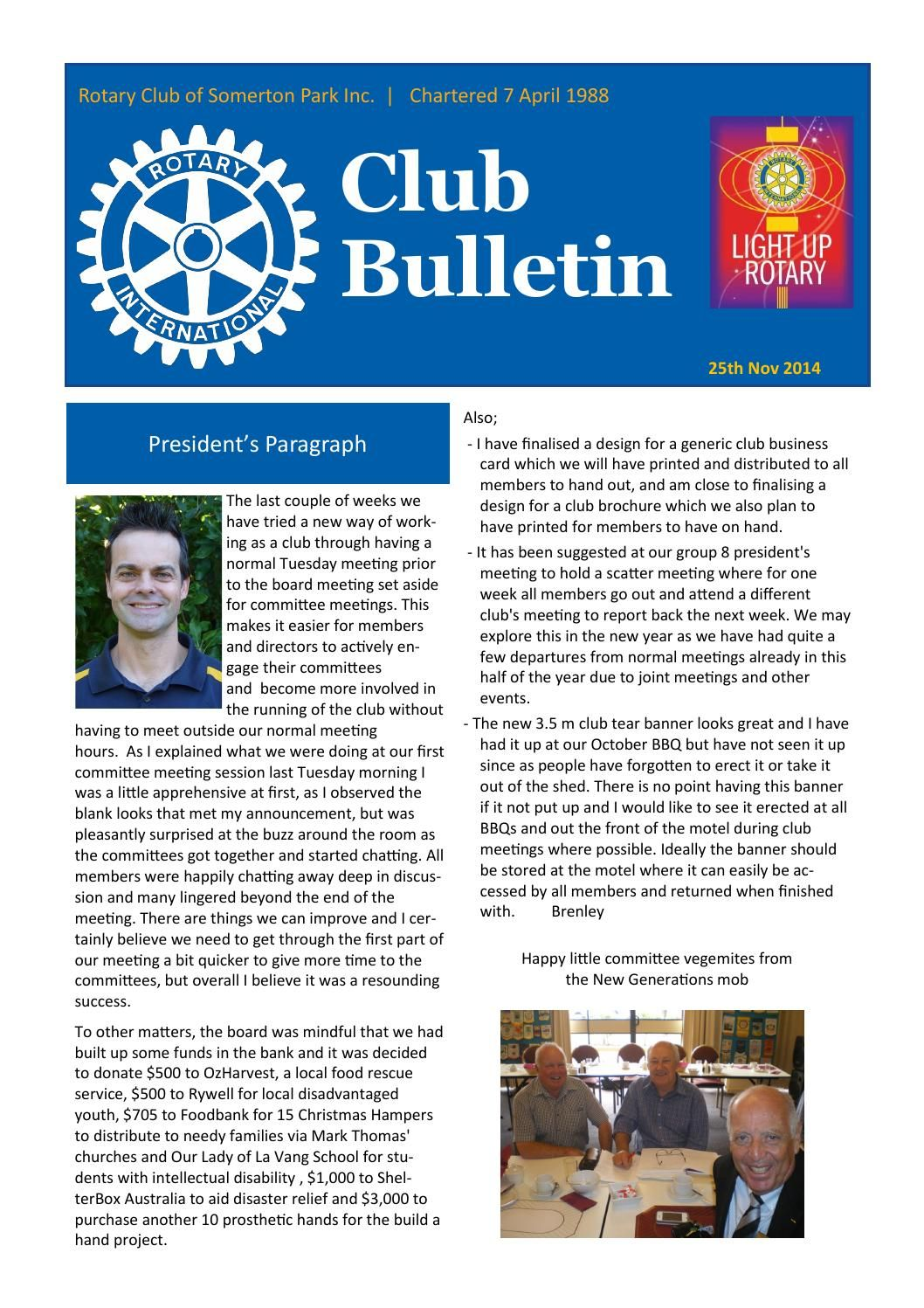 Bulletin Template | Rotary Club Of Somerton Park Bulletin 25 11 2014 Newspaper And Park