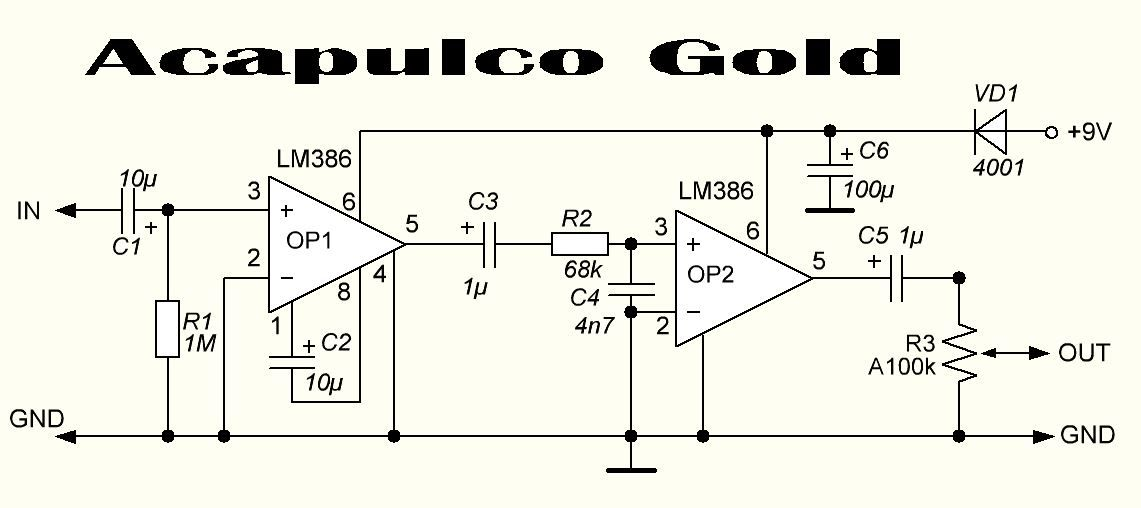 EQD Acapulco Gold: which LM386N can I use? | Guitar effects ... on eq pedal schematic, guitar tube preamp schematic, reverb pedal schematic,