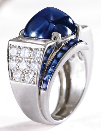 81db8c542c8b8 Platinum, Sapphire and Diamond Ring, Circa 1935. Set with a ...