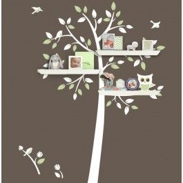 Branching out from our popular tree branch decal for shelving, we have our newest design! Organize and decorate at the same time with this owl tree decal now with room for shelves. The tree design is perfect for a gender neutral nursery and with our expanded selection of vinyl colors, matching the decal to your baby's nursery should be a breeze. This wall decal set is versatile and will work with several different styles of wall shelving. You can find similar ledges, shelves, or wall cubes…