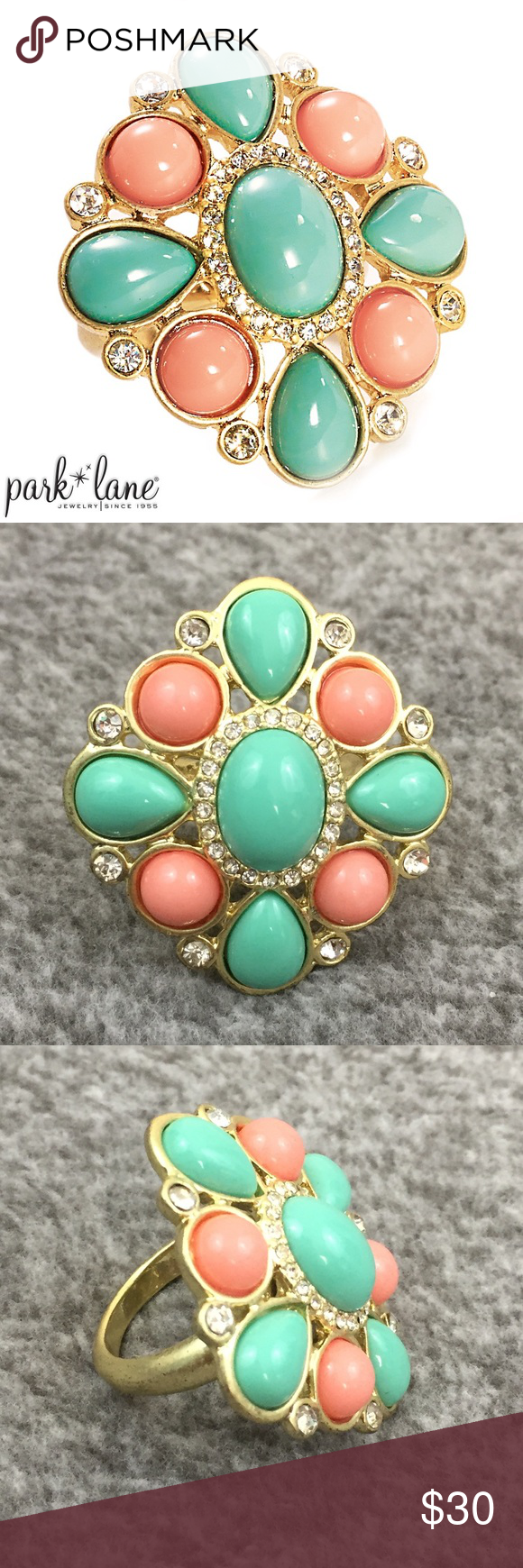 Park Lane Bohemian Ring Size 8 Cabochon gems in turquoise and peachy Coral color are accented with Austrian crystals and set in a bold, matte gold ring. Park Lane Jewelry Rings