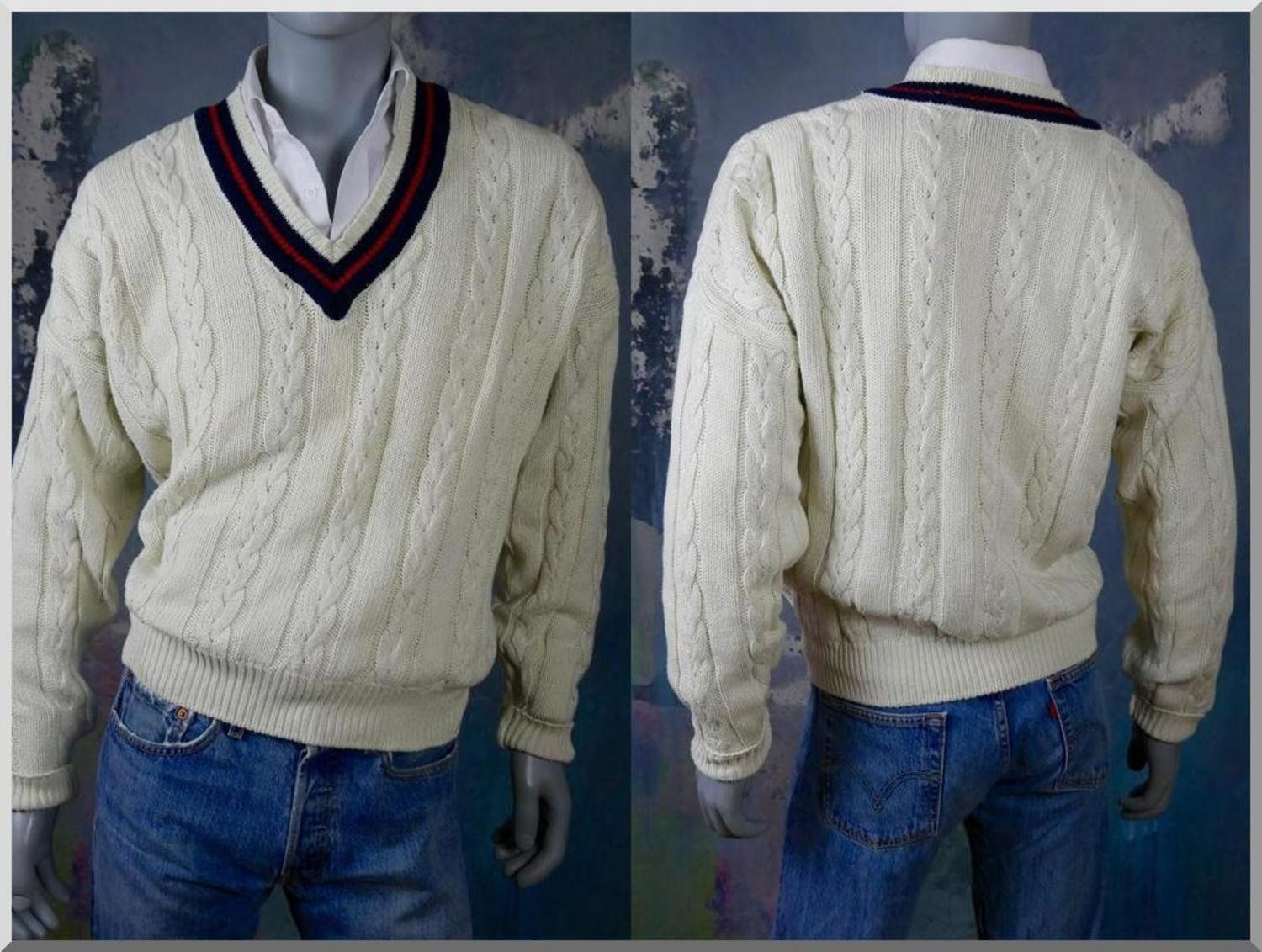 dbc2ee0404af British Cricket Sweater, Cream Cable Knit V-Neck Cotton Pullover Jumper w  Navy Blue & Red Striped Neckline: Size XXL (46 to 48 US/UK) by DownShifting  on ...