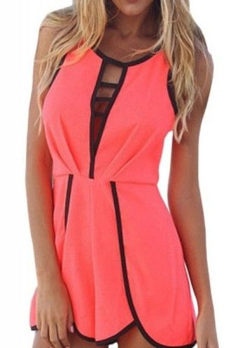 f8529e0a742d romper sexy party classy wots-hot-right-now dress orange contrast color  hollister hollow sleeveless sexy rompers party romper celebrity style  cleavage