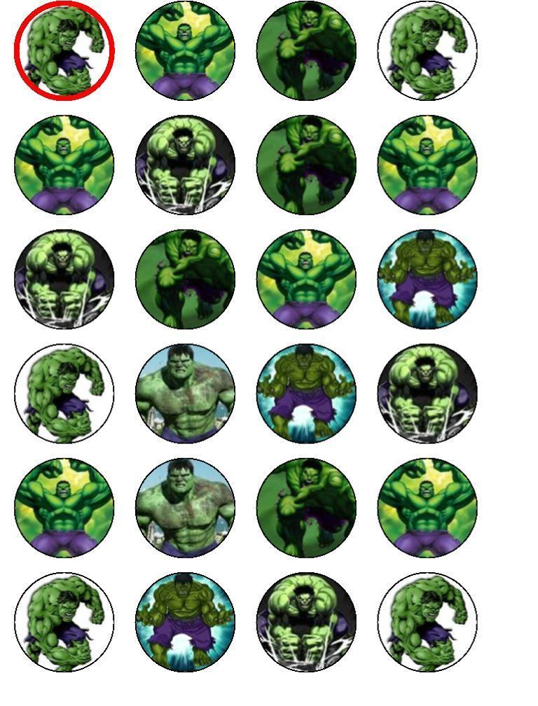 24 X Hulk Mix Rice Paper Birthday Cake Toppers Rice paper