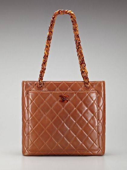 676477f523c9 Chanel Vintage Chestnut Brown Quilted Lambskin Leather Shopper Tote with  Tortoise Hardware