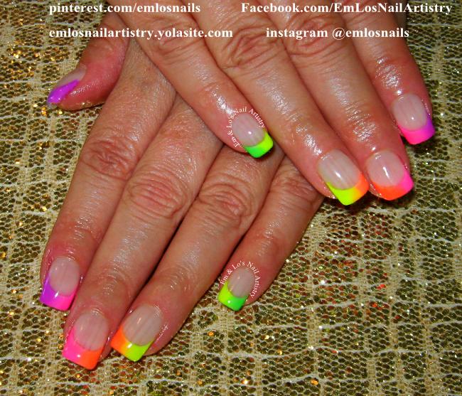 Gel Nails Neon Ombre Fade French Tips Rainbow Summer Fun Www Facebook Com Emlosnailartis Nail Designs Summer Neon Nail Designs Summer Summer Nails