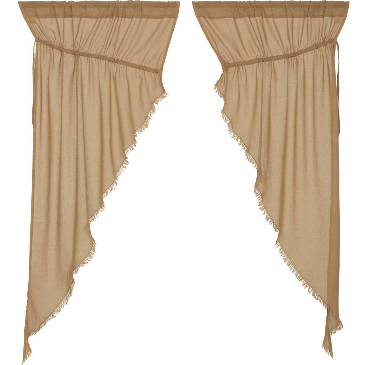 Tobacco Cloth Khaki Prairie Short Panel Curtain Fringed Set of 2 63x36x18