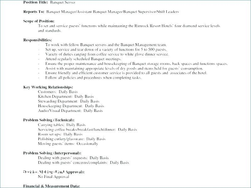Banquet Captain Resume Resume Catering Server Resume Banquet