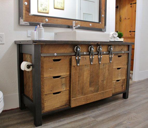 Rustic Industrial Vanity Reclaimed Barn Wood Vanity Etsy In 2020 Reclaimed Barn Wood Vanity Wood Vanity Industrial Vanity