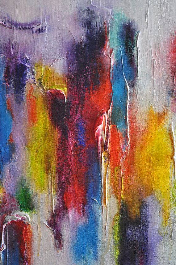 Abstract Painting on Panel Original Painting Rainbow Texture Art ...