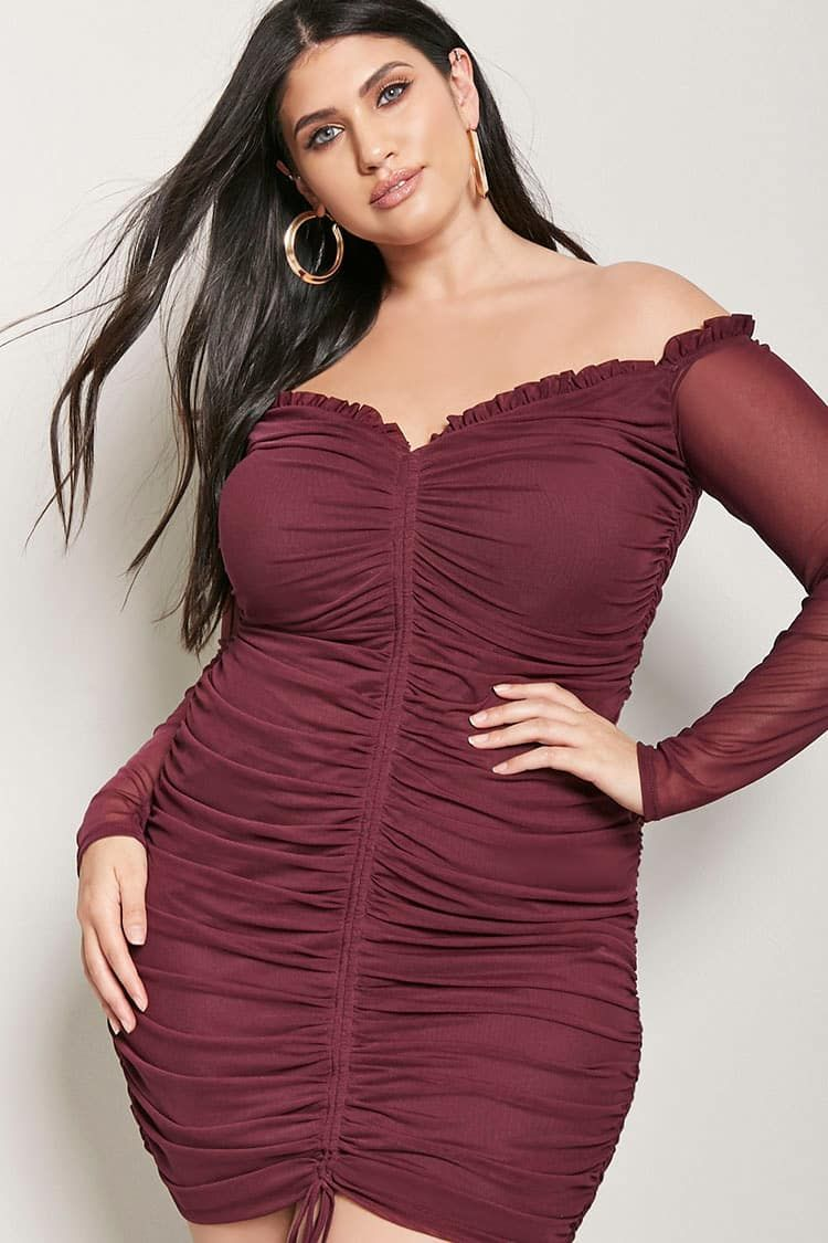 Product Name:Plus Size Ruched Bodycon Dress, Category ...
