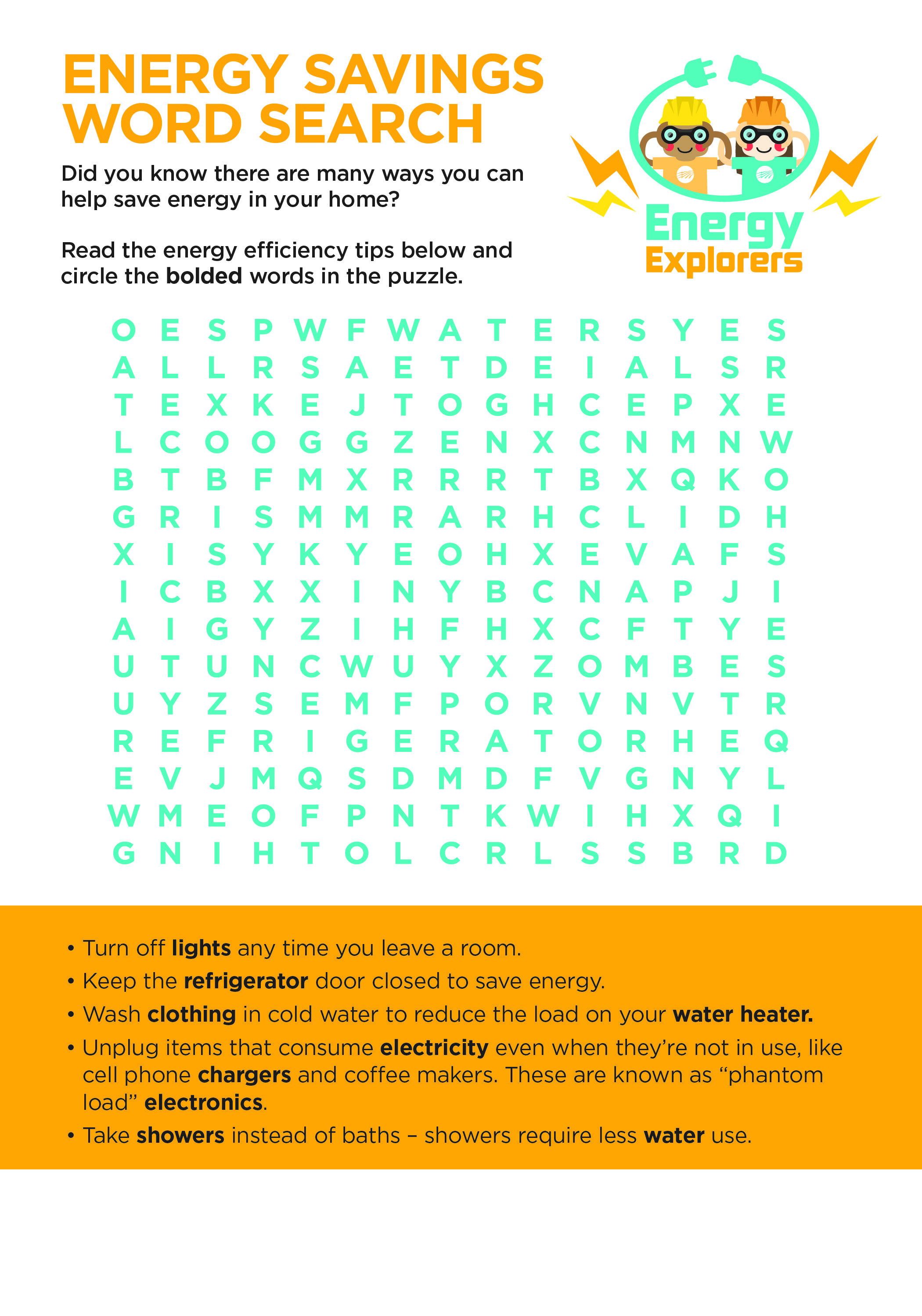 Energy Explorers Word Search